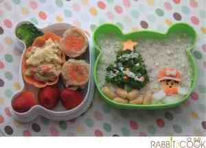 Bento # 129 - Little girl and Christmas tree Bento